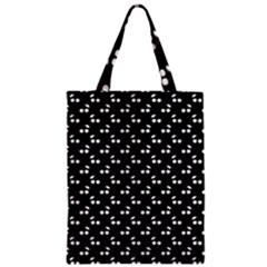 White Cherries On Black Zipper Classic Tote Bag