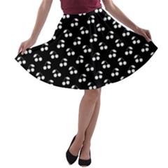 White Cherries On Black A-line Skater Skirt