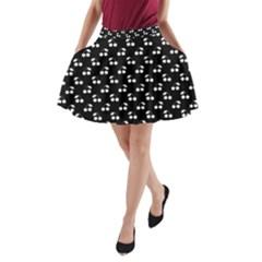 White Cherries On Black A-Line Pocket Skirt