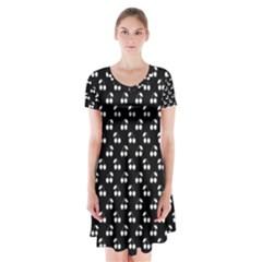 White Cherries On Black Short Sleeve V-neck Flare Dress