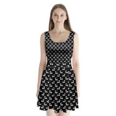 White Cherries On Black Split Back Mini Dress