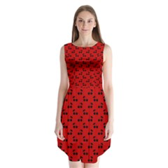 Black Cherries On Red Sleeveless Chiffon Dress