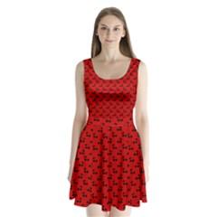 Black Cherries On Red Split Back Mini Dress