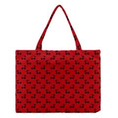 Black Cherries On Red Medium Tote Bag
