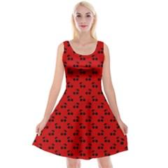 Black Cherries On Red Reversible Velvet Sleeveless Dress