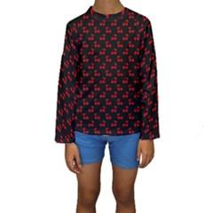 Red Cherries On Black Kids  Long Sleeve Swimwear