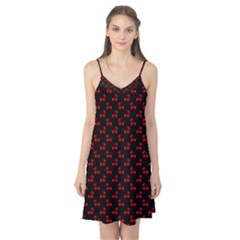 Red Cherries On Black Camis Nightgown