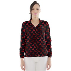 Red Cherries On Black Wind Breaker (Women)