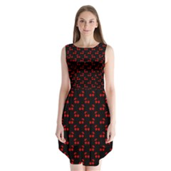 Red Cherries On Black Sleeveless Chiffon Dress