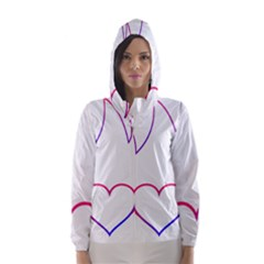 Heart Flame Logo Emblem Hooded Wind Breaker (women)