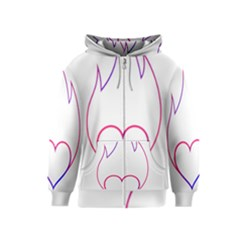 Heart Flame Logo Emblem Kids  Zipper Hoodie