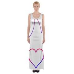Heart Flame Logo Emblem Maxi Thigh Split Dress