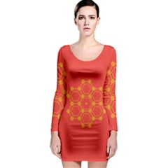 Pentagon Cells Chemistry Yellow Long Sleeve Bodycon Dress