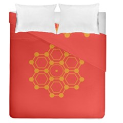 Pentagon Cells Chemistry Yellow Duvet Cover Double Side (queen Size)