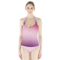 Background Blurry Template Pattern Halter Swimsuit
