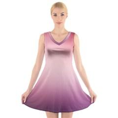 Background Blurry Template Pattern V Neck Sleeveless Skater Dress