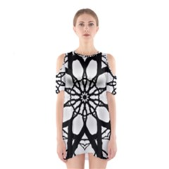 Pattern Abstract Fractal Shoulder Cutout One Piece