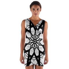 Pattern Abstract Fractal Wrap Front Bodycon Dress