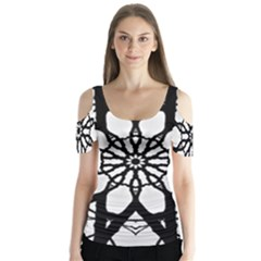 Pattern Abstract Fractal Butterfly Sleeve Cutout Tee