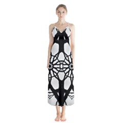 Pattern Abstract Fractal Button Up Chiffon Maxi Dress