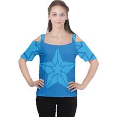Star Design Pattern Texture Sign Women s Cutout Shoulder Tee