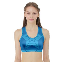 Star Design Pattern Texture Sign Sports Bra With Border