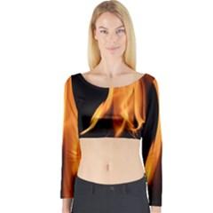 Fire Flame Pillar Of Fire Heat Long Sleeve Crop Top