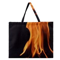 Fire Flame Pillar Of Fire Heat Zipper Large Tote Bag