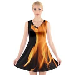 Fire Flame Pillar Of Fire Heat V Neck Sleeveless Skater Dress