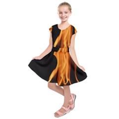 Fire Flame Pillar Of Fire Heat Kids  Short Sleeve Dress