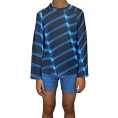 Background Light Glow Blue Kids  Long Sleeve Swimwear