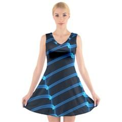 Background Light Glow Blue V Neck Sleeveless Skater Dress