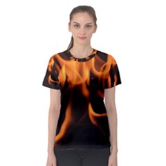 Fire Flame Heat Burn Hot Women s Sport Mesh Tee