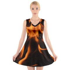 Fire Flame Heat Burn Hot V Neck Sleeveless Skater Dress