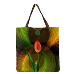Tulip Flower Background Nebulous Grocery Tote Bag