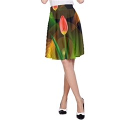 Tulip Flower Background Nebulous A Line Skirt