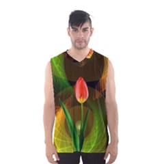 Tulip Flower Background Nebulous Men s Basketball Tank Top