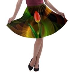 Tulip Flower Background Nebulous A Line Skater Skirt