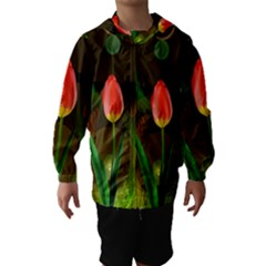 Tulip Flower Background Nebulous Hooded Wind Breaker (kids)