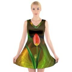Tulip Flower Background Nebulous V Neck Sleeveless Skater Dress