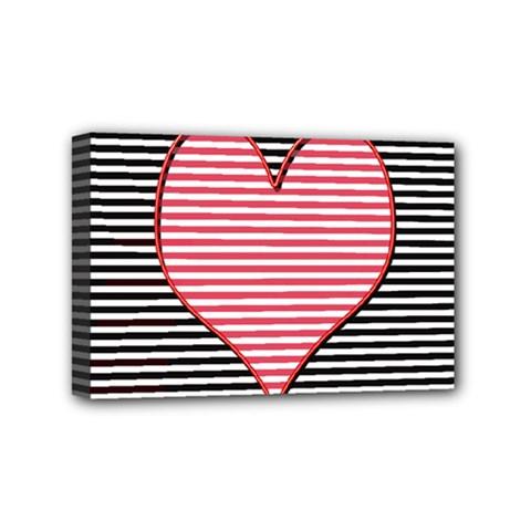 Heart Stripes Symbol Striped Mini Canvas 6  X 4