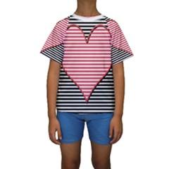 Heart Stripes Symbol Striped Kids  Short Sleeve Swimwear
