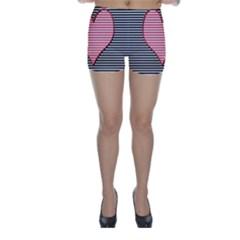 Heart Stripes Symbol Striped Skinny Shorts