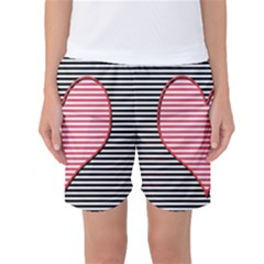 Heart Stripes Symbol Striped Women s Basketball Shorts