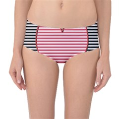 Heart Stripes Symbol Striped Mid Waist Bikini Bottoms