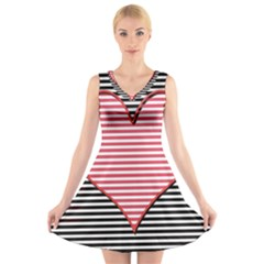 Heart Stripes Symbol Striped V Neck Sleeveless Skater Dress