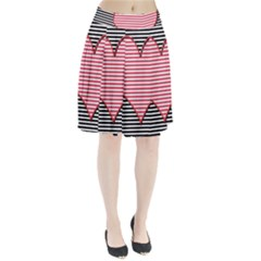 Heart Stripes Symbol Striped Pleated Skirt