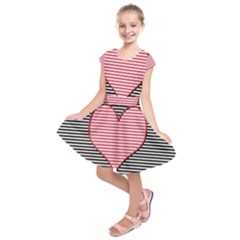 Heart Stripes Symbol Striped Kids  Short Sleeve Dress
