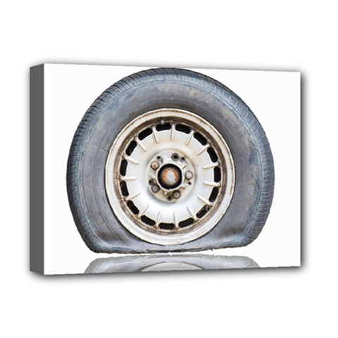 Flat Tire Vehicle Wear Street Deluxe Canvas 16  X 12