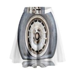 Flat Tire Vehicle Wear Street High Waist Skirt